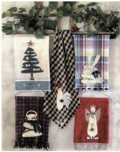 Primitive Applique Homespun Towels | The Pattern Hutch   Kitchen Goodies,  Kitchen Helpsers, Pot Holders ... | Clever Crafts | Pinterest | Primitives,  Towels ...
