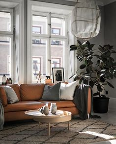 Caramel colored leather couch
