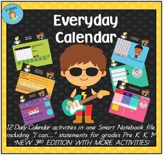 Brand NEW 3rd Edition Everyday Interactive Calendar for Smart Board - Grades Pre K, K, 1st, 2nd.