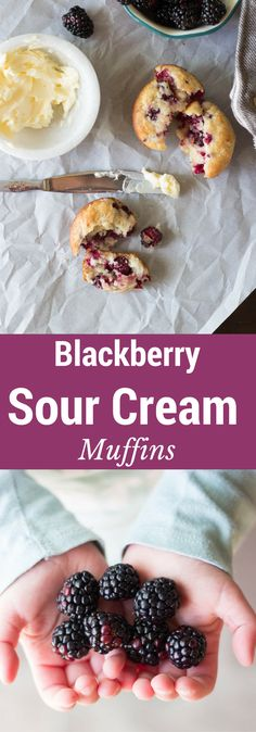 My favorite way to use blackberries - in these Blackberry Sour Cream Muffins! They are to die for! Food N, Good Food, Food And Drink, Yummy Food, Blackberry Muffin, Blackberry Recipes, Crockpot Stuffing, Sour Cream Muffins, Grab And Go Breakfast