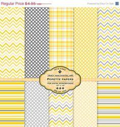 Popette Digital Paper pack for invites, card making, digital scrapbooking,