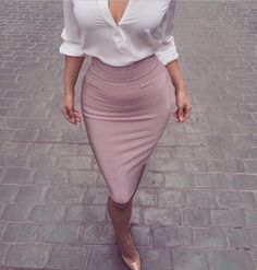 neutral pink pencil skirt with white blouse
