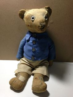 VINTAGE JOINTED GLASS EYE 15 INCH TEDDY BEAR in Dolls & Bears, Bears, Other Bears | eBay