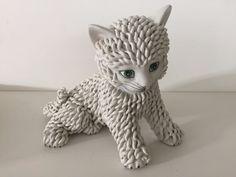 Vintage Italian Art Pottery Spaghetti Cat Figurine Statue Hand Made In Italy