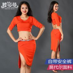 ==> [Free Shipping] Buy Best Bellydance Belly Dance Rushed For Oriental Dance Costumes Woman Square Belly Suits Top&skirt With Shorts Performance Wear Zm063 Online with LOWEST Price | 32722257659