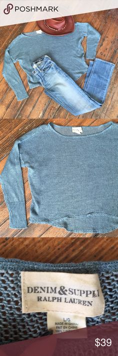 Denim & Supply loose knit cropped sweater Galvanized dark turquoise cropped sweater in excellent condition! 100% linen! Fits sma- large Denim & Supply Ralph Lauren Sweaters