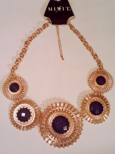 Mixit Cobalt Royal Blue and Gold Plated Medallion Statement Necklace adjustable  #JCPenneyMixit #Statement