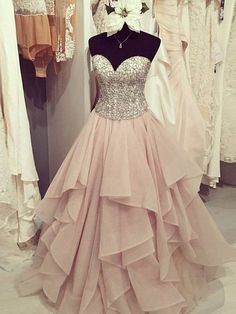 Ball Gown Sweetheart Sleeveless Floor-Length Beading Chiffon Dresses - Hebeos Online