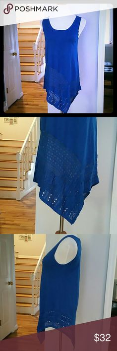 NWT GRACE ELEMENTS TOP NWT Grace Elements Sleeveless Pointelle-knit Asymmetrical Top  Color : Olympian Blue  Materials : 88% RAYON  12% POLYESTER Grace Elements Tops