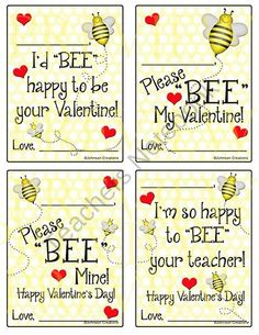 """Bee Valentines ~ would be super cute with """"bit-o-honey""""! Homemade Valentines, Valentines Day Party, Valentine Day Crafts, Happy Valentines Day, Holiday Crafts, Valentine Ideas, Happy Hearts Day, Bee Art, Bee Theme"""