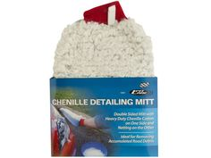 "Chenille Auto Detailing Mitt, 24 - Ideal for removing accumulated road debris, this Chenille Auto Detailing Mitt features a double-sided mitt with heavy duty chenille cotton on one side and netting on the other, with an interior sponge to hold soap and suds. Machine washable, air dry. Measures approximately 10"" x 7"". Comes packaged with a wrap around tag.-Weight: 7/unit"