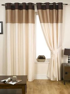 Harmony Ready Made Fully Lined Eyelet Ring Top Curtains Natural Neutral Curtains Behind Bed, Home Curtains, Curtains With Blinds, Canvas Curtains, Closet Curtains, Curtains Living, Valance, Brown Curtains, Striped Curtains