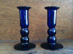 Vintage English Cobalt Blue Glass Candlesticks by EnglishShop, $39.00