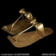 King Tut's golden sandals, Egyptian, c. 1324 B. King Tut's golden sandals, Egyptian, c. 1324 B. Ancient Egyptian Art, Ancient Ruins, Ancient Artifacts, Ancient History, Egyptian Kings, European History, Ancient Greece, American History, Golden Sandals