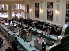 Harvey House Diner, Union Station, Kansas City - that used to be manned by Harvey Girls! Possibly the best diner atmosphere ever - and PIE CASES.