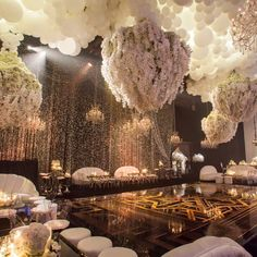 Amazing Great Gatsby themed decor. Kris Jenner's bday bash would also double as a BEAUTIFUL wedding reception.