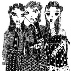 """MARC JACOBS, (Fall/Autumn), """"The gossip on the street is....."""",  illustrated by Mitika Suri, pinned by Ton van der Veer"""