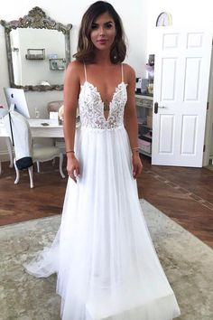 Custom Made Tulle Appliques White Prom Dress, Sexy Straps A Line Backless Prom Dresses, Wedding Party Dress Flying Bridal Causal Wedding Dress, Lace Beach Wedding Dress, V Neck Wedding Dress, Classic Wedding Dress, Wedding Dress Trends, Backless Wedding, Sexy Wedding Dresses, Sexy Dresses, Bridal Dresses