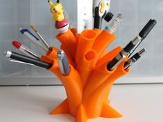 Pen Holder  This project, for 3D printers with a build area larger than 6 inches square, creates a rather striking pen holder.
