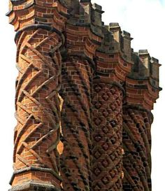 Decorative Tudor brick chimneys, Hampton Court Palace, UK