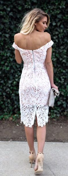 #summer #outfits  White Off The Shoulder Lace Dress + Beige Sandals