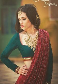 In trend full sleeve blouse Indian Bridal Outfits, Indian Dresses, Indian Bridal Jewelry, Indian Clothes, Ethnic Fashion, Asian Fashion, India Fashion, Indian Attire, Indian Wear