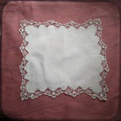 Antique Lace and Monogram AR Wedding Bridal french Hand embroidered Hankie White Gorgeous - Vintage Hanky Whitework Souvenir from France