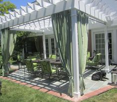 pergola with drapes | white pergola with curtains