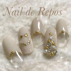 Christmas Gel Nails, Winter Nail Art, Christmas Nail Designs, Christmas Nail Art, Holiday Nails, Gem Nails, Shellac Nails, Bling Nails, Gucci Nails