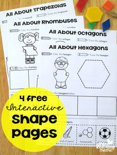 Work on shapes with these four free interactive worksheets! Fun for kindergartners!