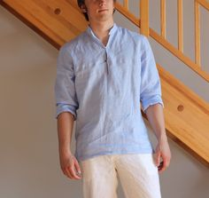 Man sky blue color linen shirt beach wedding party special occasion birthday summer by Maliposhaclothes on Etsy