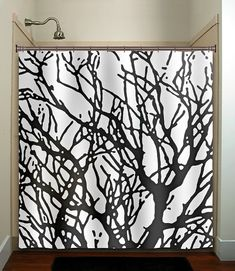 branches tree branch shower curtain bathroom decor fabric kids bath white black custom duvet cover rug mat window on Etsy, $30.00