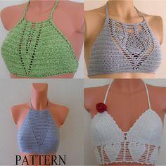 Crochet HalterTop Pattern Crochet Bikini Top by LOVEKNITCROCHET