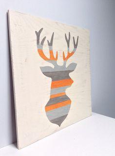 Large Hand Painted Rustic Deer Head Silhouette on Wood, woodland Nursery Art, Striped Wall Art, Buck Painting, Gray Orange Decor, Antler Art on Etsy, $90.00
