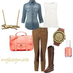 Equestrian with pops of coral.  Wear the lace shell over the denim for a great layered look.