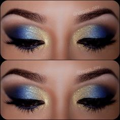 Gold to blue to black ombre smoky eye