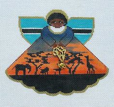 Painted Pony Africa Angel with Sunset Handpainted Needlepoint Canvas Ornament   eBay