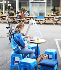 blue mood monochromatic minimal street style copenhagen