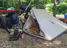 - The ideal companion to any road warrior! Tent Camping, Camping Gear, Backpacking, Motorcycle Tent, Chopper, Custom Bobber, Cafe Racer, Vintage Motorcycles, Cycling Bikes