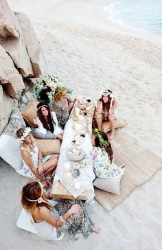 These bachelorette party decorations are ideal for major bride vibes. From bachelorette party sashes to classy bachelorette party games, I've got you! Bohemian Beach Wedding, Bohemian Wedding Inspiration, Boho Ideas, Beach Weddings, Wedding On The Beach, Birthday At The Beach, Fashion Inspiration, Bohemian Party, Beach Picnic