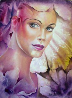 Artodyssey: Carlos Queiroz Portraits, Purple Yellow, Face Art, How Beautiful, Artist At Work, Art Google, Mystic, Modern Art, Disney Characters