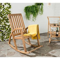 Shop for Safavieh Clayton Brown Finish Acacia Wood Rocking Chair. Get free delivery On EVERYTHING* Overstock - Your Online Garden & Patio Shop! Teak Rocking Chair, Outdoor Rocking Chairs, Cafe Chairs, Patio Chairs, Desk Chairs, Adirondack Chairs, Outdoor Seating, Indoor Outdoor, Outdoor Decor