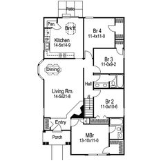 Traditional House Plan First Floor 007D-0102  from houseplansandmore.com