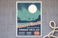 retro Hawaii wedding invite