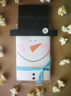 Snowman covers for microwave popcorn.