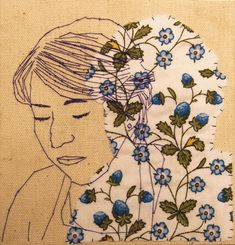 Inspired by Rosie James, a small figure transcription, done by hand. Rosie James, Stitch Drawing, Embroidery Art, Simple Embroidery, Modern Embroidery, Embroidery Patterns, Ap Art, Portrait Art, Portraits