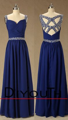 DIYouth.com Sweetheart Spaghetti Strap Top Beaded Unique Design Long Royal Blue Crystal Formal Evening Dresses,open back evening dress, backless prom dress, cocktail dress