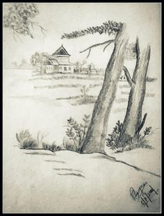 Village in the lap of nature.. - Sketching by Pallavi Banerjee in My Projects at touchtalent