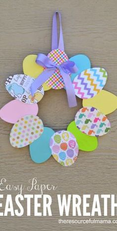 Easter Wreath - Fun Craft for Kids and Adults This would look so cute on the classroom door!