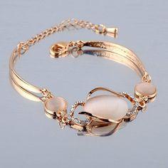 $3.84 Cute Faux Opal Decorated Hollow Out Diamante Bracelet For Women